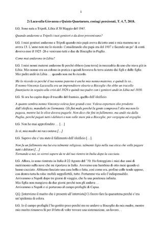 Trascrizione dellintervista di Domenico Infantolino a Giovanna Lacavalla, Quinto Quartararo, coniugi, 4, 7, 2018, 19,00