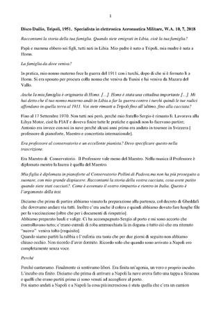 Trascrizione dellintervista di Domenico Infantolino a Duilio Disco, 10, 7, 2018