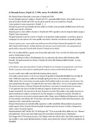 Trascrizione dellintervista di Domenico Infantolino a Franco Macauda, 12, 08, 2018